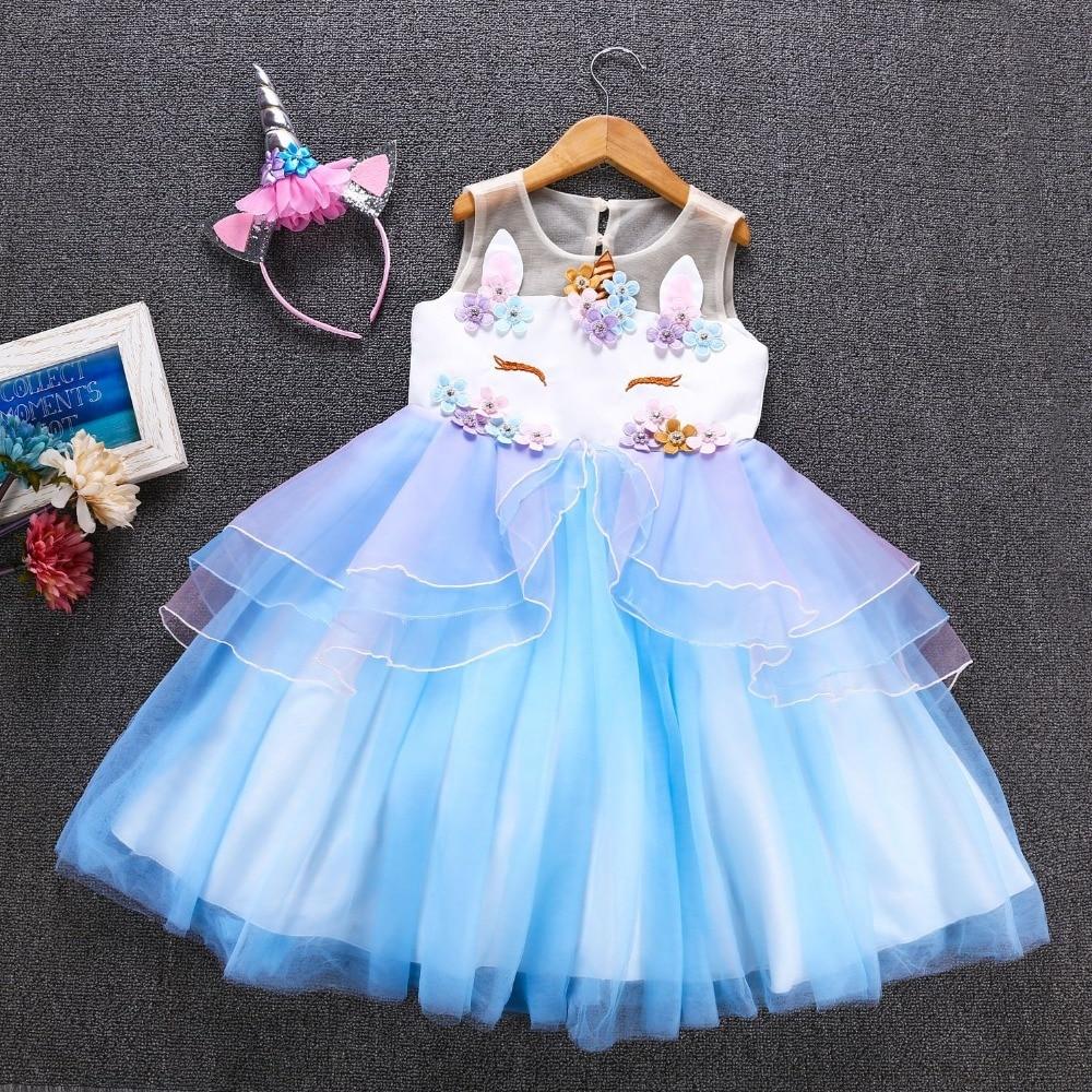 Flower Girls Unicorn Dress Princess Girls Christmas Dress Unicorn Party Girls Dress Unicorn Costume