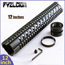 Fyzlcion Black Hunting Gun Accessories High Quality Aluminum 12inch Quad Rail Handguard Mount Rails For Standard Carbine Length
