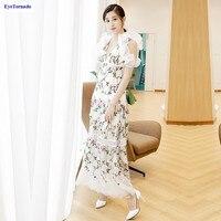 Для женщин глубоким v образным вырезом Плиссированное кружевное платье с рукавом бабочкой пикантные вечерние Цветочная вышивка винтажные