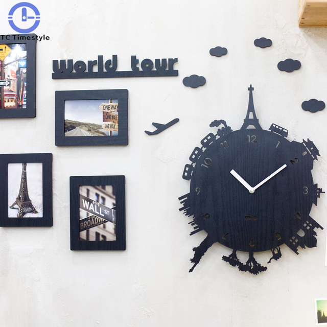 Creative World Tour Wall Clock Living Room Modern European Fashion List  Mute Children\'s Bedroom Individuality Quartz Clock-in Wall Clocks from Home  & ...