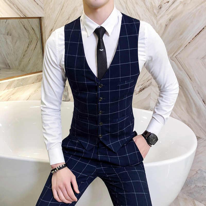 Fashion Brands Men S Suit Vests Business Wedding Dresses Tops Men Slim Fit Male Casual Grid Waistcoat Size S 4xl