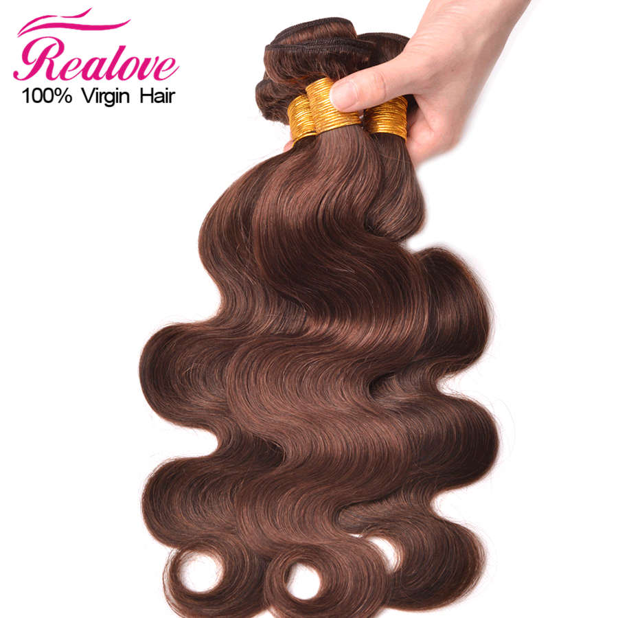 #4 Light Brown Color Malaysian Virgin Hair 3 Bundle Deals 6 Inch To 24 Inch Malaysian Body Wave Hair 7A Unprocessed Human Hair
