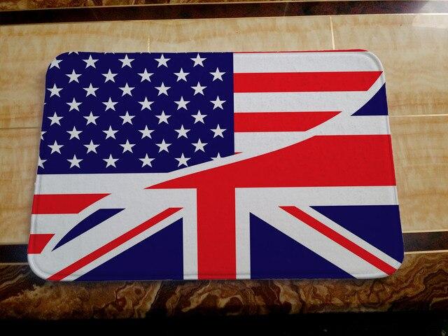 Бесплатная доставка 3d типографии carpet сша/великобритания флаг carpet зал спальня гостиная пол ковер 40x60 cm ванная комната коврики оптовая