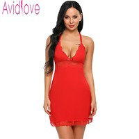 Avidlove 2017 Sexy Lace Women With Sleeveless G String Babydoll Underwear Dresses Nightgown Lingerie Sleepwear Dress