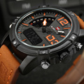 NAVIFORCE Brand Men's Digital LED Sport Watches Men Waterproof Leather Quartz Watch Man military Male Clock Relogio Masculino