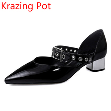 2017 Shoes Women PU Leather Black Pointed Toe Rivets Punk Style High Heels Large Size Pumps Wholesale Shallow Mary Janes L2F6