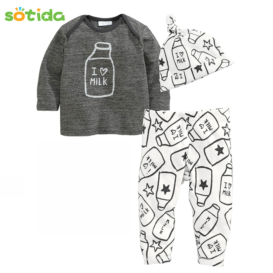 Sotida Baby Clothing sets 2018 Autumn Winter Baby Boys Clothes Cotton Printing Hats+T-shirt+Pants 3pcs baby girls clothing sets baby girls clothing sets cute my first christmas tree rompers deer pants hats 3pcs 2017 autumn cartoon boys clothes outfits set