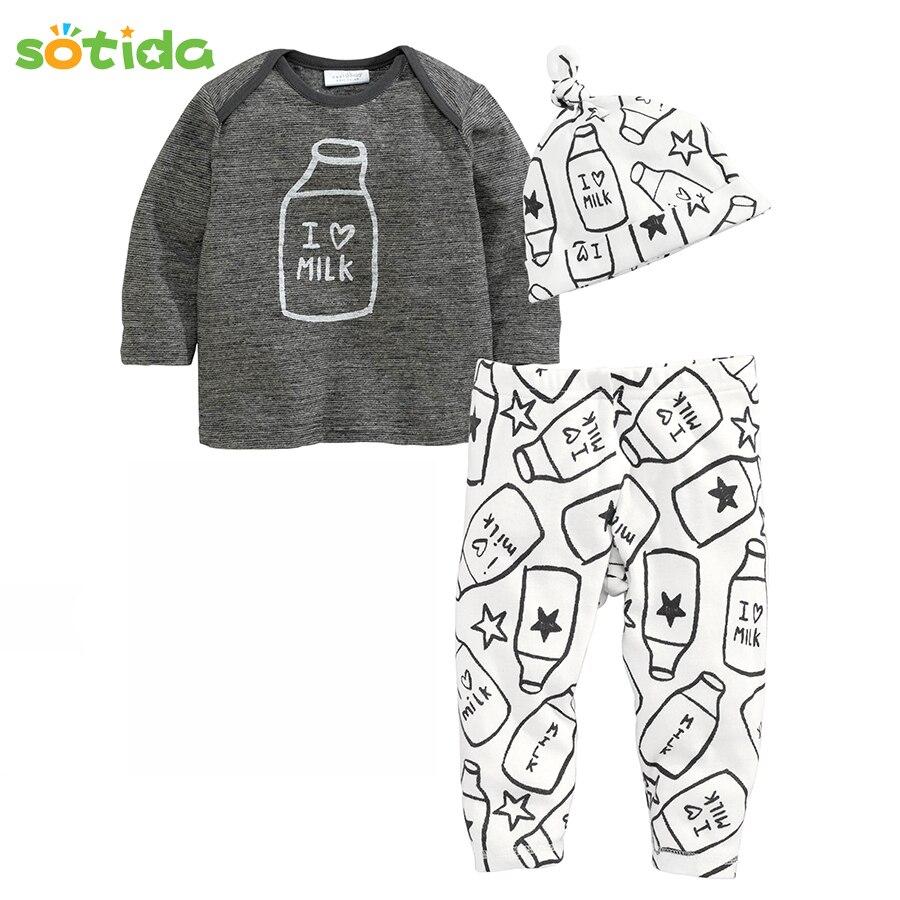 Sotida Baby Clothing sets 2018 Autumn Winter Baby Boys Clothes Cotton Printing Hats+T-shirt+Pants 3pcs baby girls clothing sets baby hats