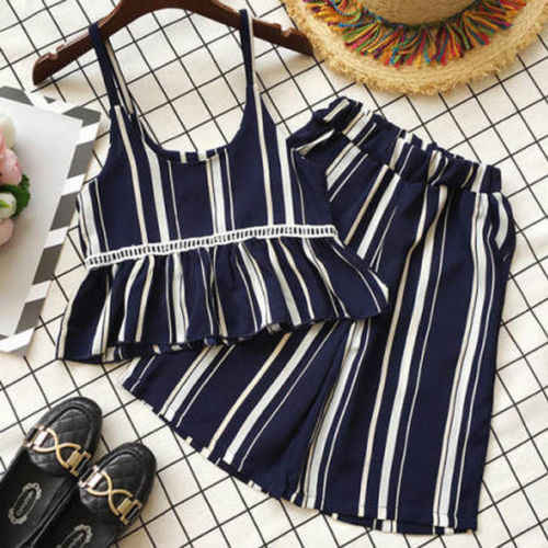 2Pcs Kids Baby Girls clothes   Striped Outfits top + Suspender pants  Clothes set summer wear