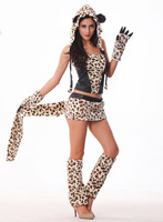 Free Shipping Sexy Animal Costume 3S1098 Hot Sexy Leopard Cat Corset Costume