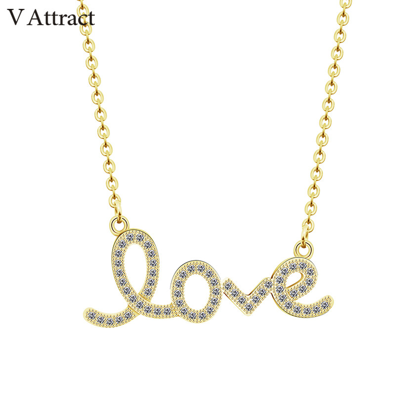 V Attract Gold Chain Colar Message CZ Love Word Charm Statement Necklace Wedding Jewelry Letter Pendant Choker Bijoux Femme chain