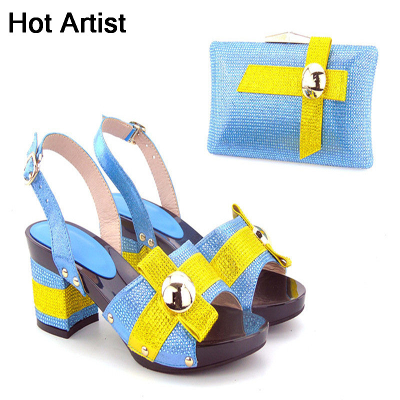 Hot Artist New Summer Style Woman Shoes And Matching Bags Set For Party African High Heel Shoes And Bag Set Free Shipping high quality african shoes and matching bag set summer style woman high heels shoes and bag set for party size 38 43 mm1030