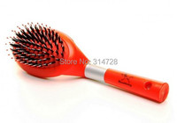 Free Shipping Red Elliptic Soft Comfortable Handle Brush Airbag Horsehair Comb For Dogs Cats Pet Grooming