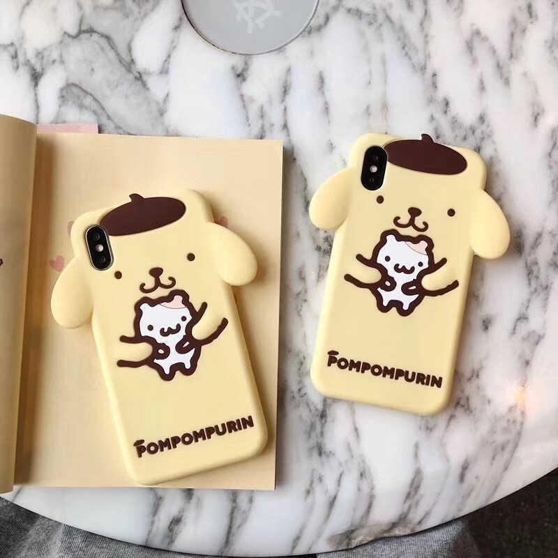Japão Coréia linda pompompurin 3D bonito dos desenhos animados My Melody silicone suave phone case para iphone 6 6s 7 8 plus X capa para iphone 7
