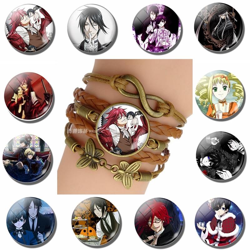 Fashion Vintage Knitted Leather Bronze Bracelet Black Butler Ciel Phantomhive Sebastian Michaelis Game Anime Accessories Gift