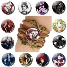 Fashion Vintage Knitted Leather Bronze Bracelet Black Butler Ciel Phantomhive Sebastian Michaelis Game Anime Accessories Gift недорого