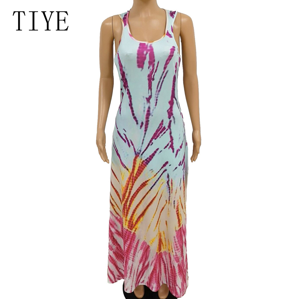 TIYE Spaghetti Strap Backless Sexy Long Dress Party Summer Maxi Dress Casual Bohemian Beach Loose Print Dresses Robe Vestidos in Dresses from Women 39 s Clothing