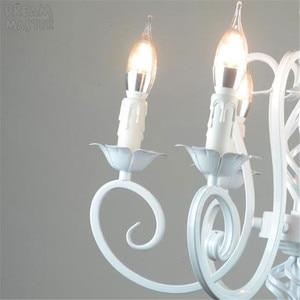 Image 2 - Bianco Nordic Lampadario Wrough Ferro lustre lampada Per Soggiorno 220V 110V sala da pranzo camera da letto Foyer Lampadario di Illuminazione