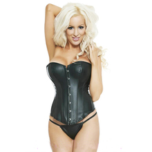 2016 Sexy Women Steampunk Corselet Strapless Waist Training Leather Corset Body Shapewear Bustier Overbust Tops espartilhos