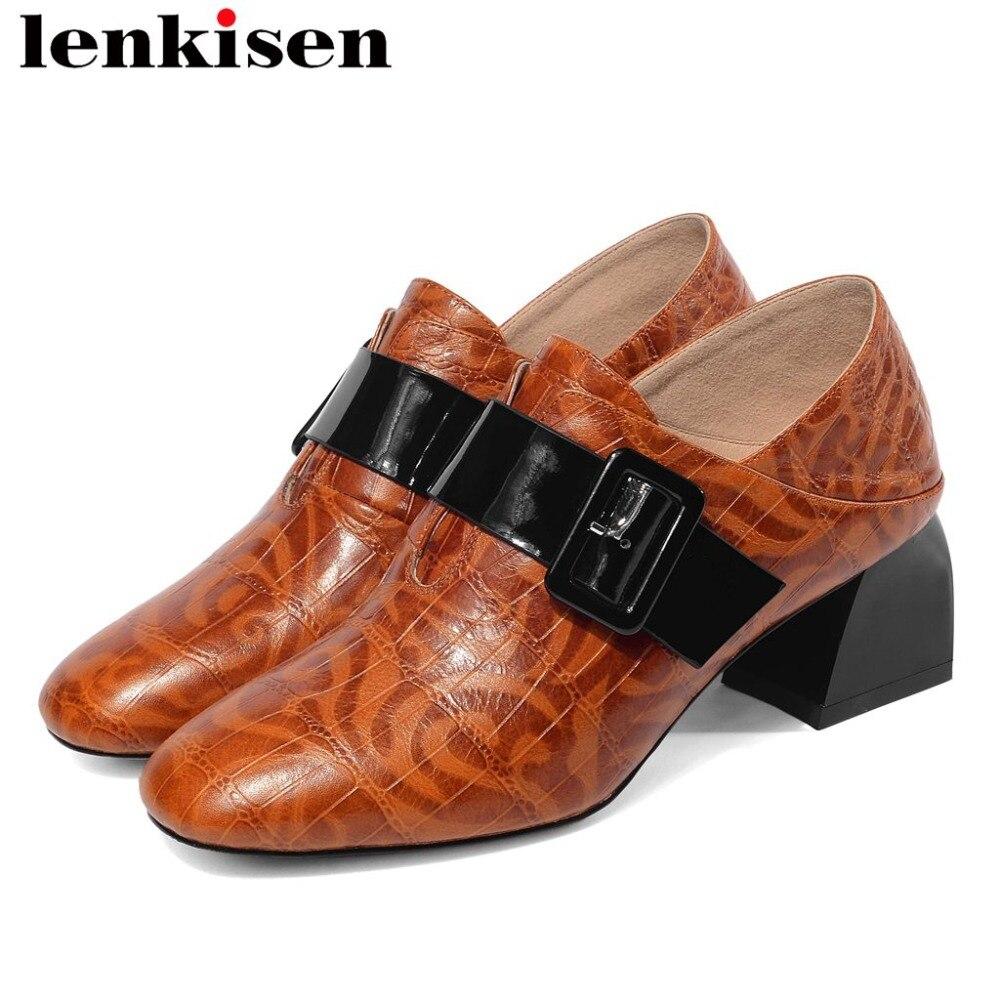 2019 high fashion European style classic square toe buckle decoration slip on genuine leather vintage big