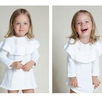 2016 Spring Autumn Girl Princess Sweater Dress Knitted Cute White Baby Dress Kids Long Sleeve Knee
