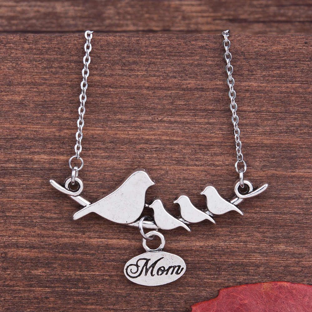 8SEASONS Handmade Antique silver-color Bird Pendant Family Necklace Mother's Day Gift, Approx 50.5cm Long, 1PC