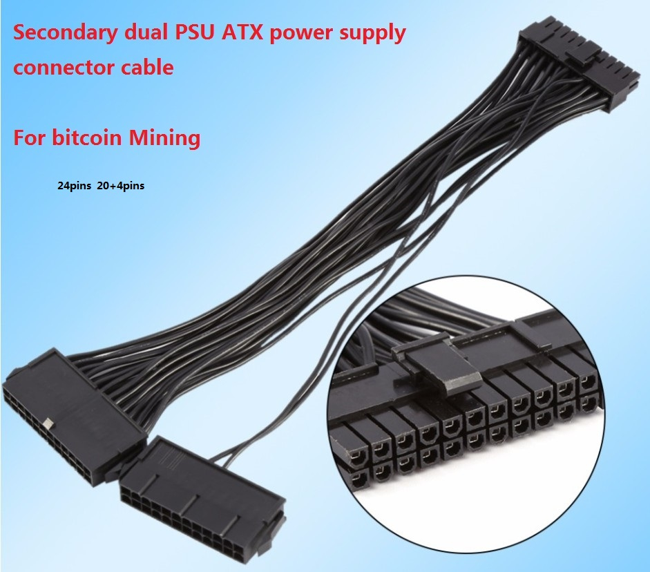 Mining 24Pin 30cm  Dual PSU Adapter ATX Power Supply Cable Connector for Mining