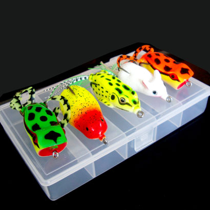 WLDSLURE 6Pcs/set Fishing Lure Kit Carp Fishing Soft Floating Frog Lures Bait Top Water Crankbait Mouse with Tackle Box стоимость