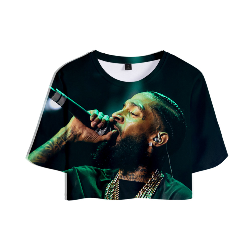Nipsey Hussle <font><b>3D</b></font> Printed Women Crop Tops Fashion Summer Short Sleeve <font><b>T</b></font>-<font><b>shirts</b></font> 2019 Hot Sale Casual Streetwear <font><b>Sexy</b></font> <font><b>T</b></font> <font><b>shirts</b></font> image