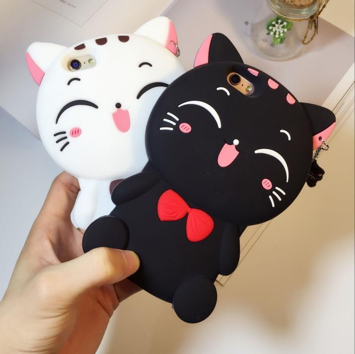 For OPPO A5 3D Silicon Lucky Cat Cartoon Soft Cell Phone Case Cover for OPPO A3S 5.5 inch image