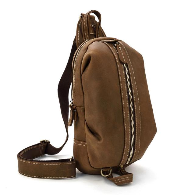 MAHEU Featured Mini Bags Leather Packs Single Shoulder Sporty Genuine Leather Casual Crossbody Urban Chest Bagpack