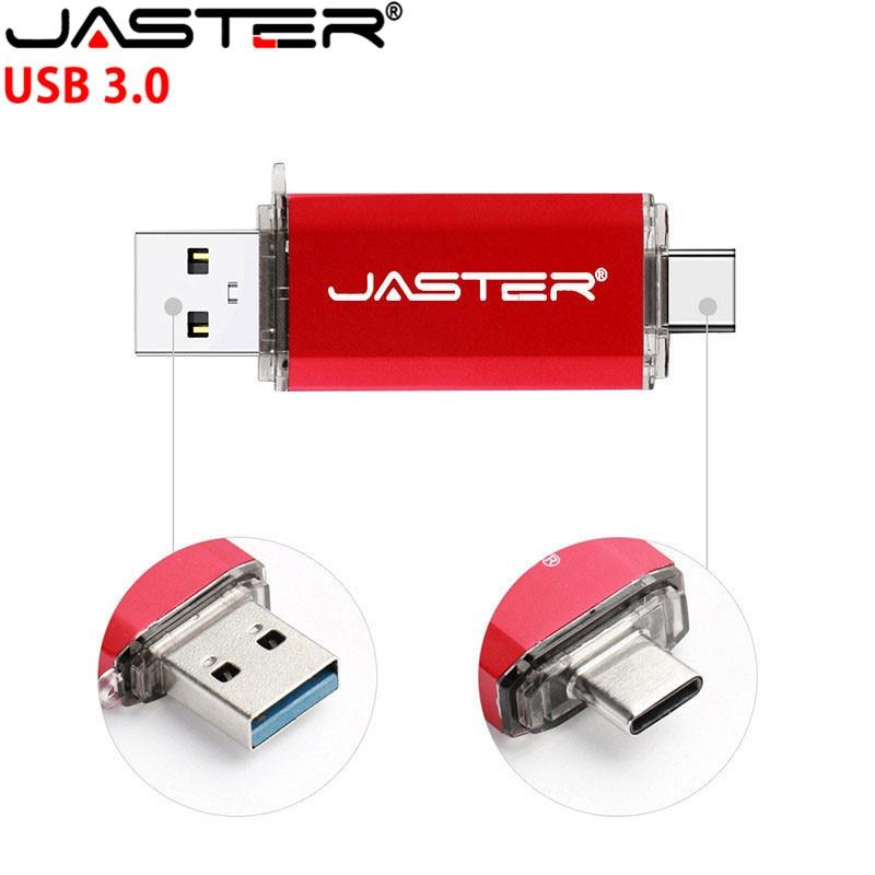 JASTER UBS 3.0 OTG USB Flash Drive 64GB Pen Drive 3 In 1 Type C & Micro USB Stick 3.0 Flash Drive 16GB 32GB 128GB Pendrive