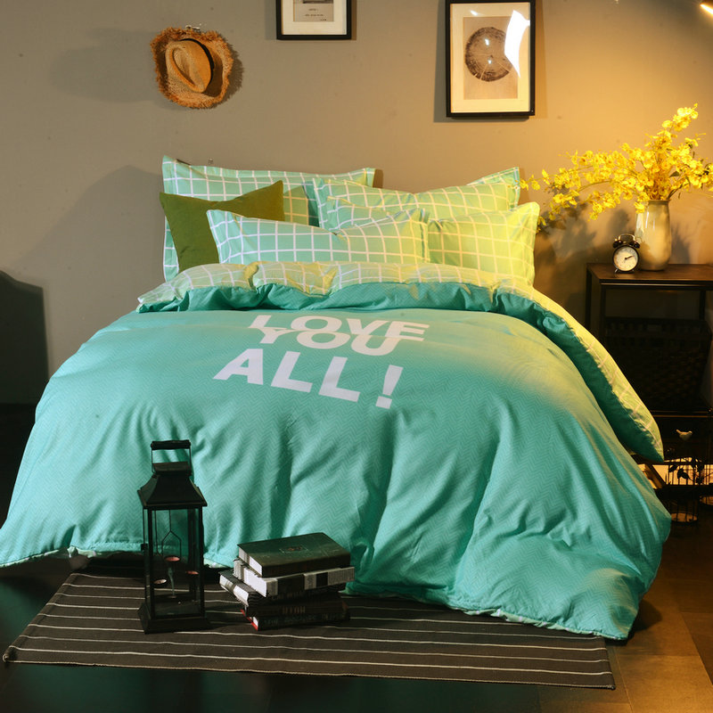 Emerald Solid Color Bedclothes  Cotton Bed Sheet Duvet Cover Sets 4Pc Bedding Home Textile Pillowcase Sheets Suitable For Girls Emerald Solid Color Bedclothes  Cotton Bed Sheet Duvet Cover Sets 4Pc Bedding Home Textile Pillowcase Sheets Suitable For Girls