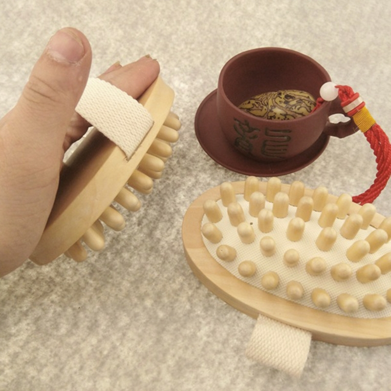 Hand-Held Wooden Body Brush Massager Cellulite Reduction Relieve Tense Muscles New
