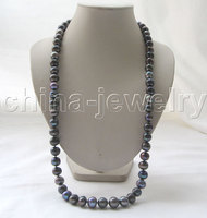 Бесплатная доставка> красивый AAA 32 12 мм натуральный черный круглый пресноводный жемчуг ожерелье /20