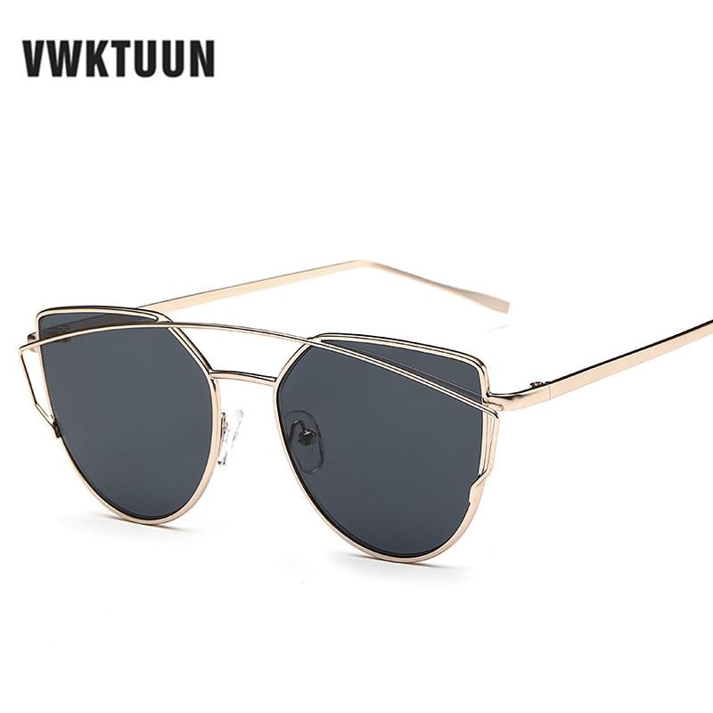 VWKTUUN Cat's Eye Sunglasses Women Brand Designer Vintage Fashion Alloy Frame Mirror Sun Glasses Double-Deck Sunglasses UV400