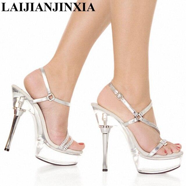 2019 real mayor descuento Calidad superior € 37.14 25% de DESCUENTO|LAIJIANJINXIA transparente zapatos de plataforma  zapatos Sexy zapatos de baile zapatos 14 CM Sandalias de tacón alto de Club  ...