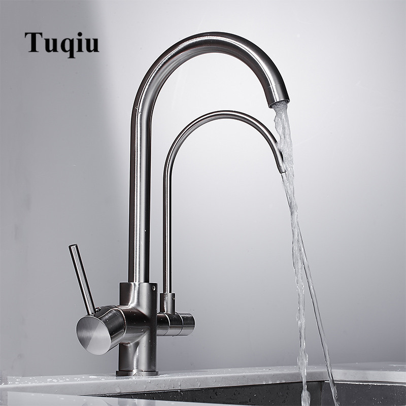 Kitchen Faucet Solid Brass Crane For Kitchen Deck Mounted Nickel Water Filter Tap Sink Faucet Mixer 3 Color 3 Way Kitchen Faucet