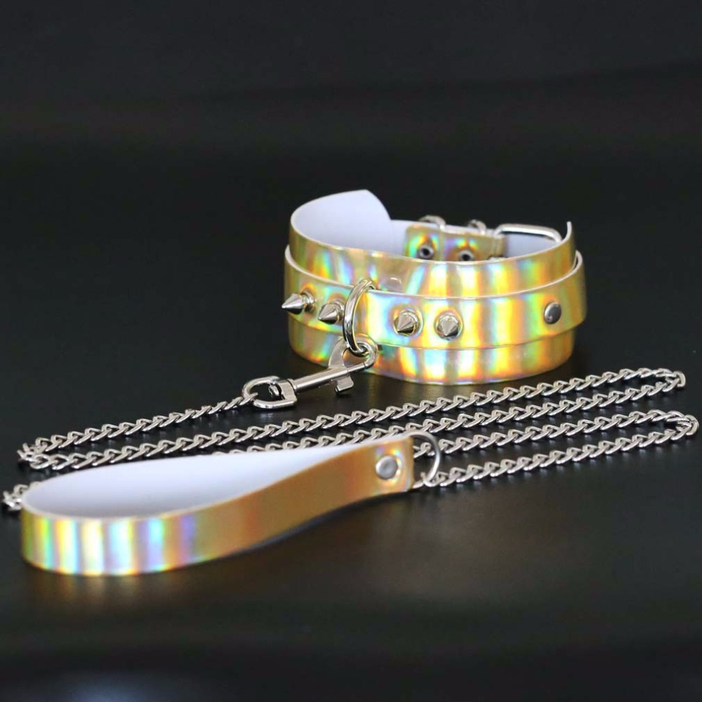 New Design Metal Rivet Slave Holographic BDSM Laser Choker Necklace Woman  Men Exaggerated Collars Jewelry Gift -in Torques from Jewelry   Accessories  on ...