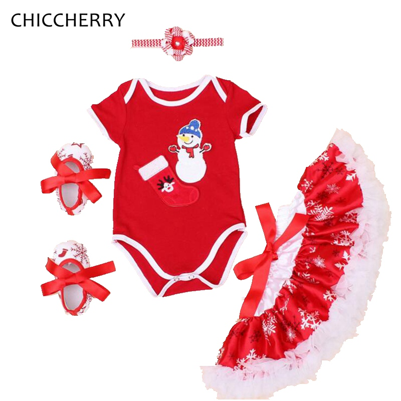 Snowmen Red Girls Clothing Sets Christmas Costumes for Kids Bodysuit Lace Skirt Crib Shoes Headband Newborn Baby Girl Clothes