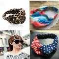 1 pcs das mulheres chiffon bandanas tecido elastic headwrap turbante esporte headband leopard tiger impressão da bandeira dos eua acessórios de cabelo