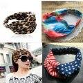 1pcs women's chiffon fabric bandanas elastic headwrap turban sport headband leopard tiger print USA flag hair accessories