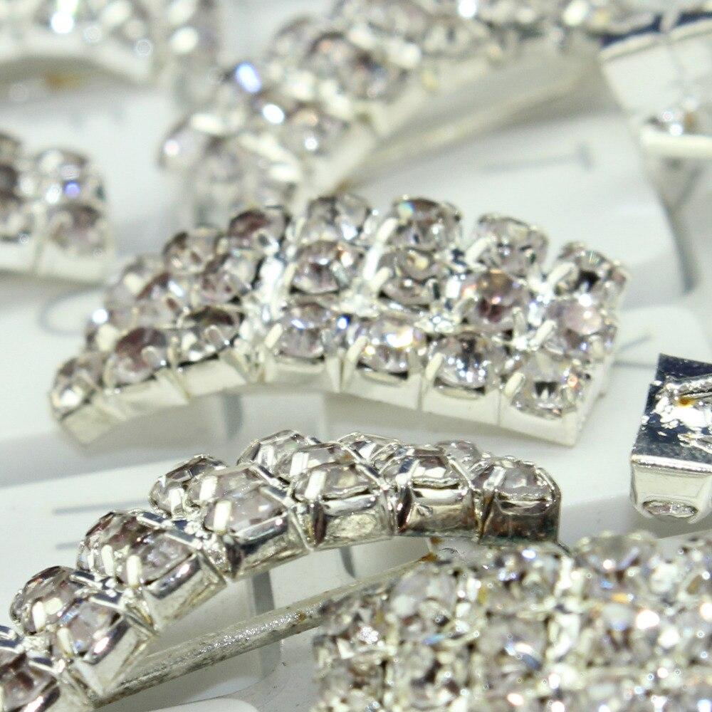 Hair bow button accessories - 70pcs Silver Rhinestone Bow Button 20x8mm Wedding Invitation Bow Hair Accessories Silver Button High Quality