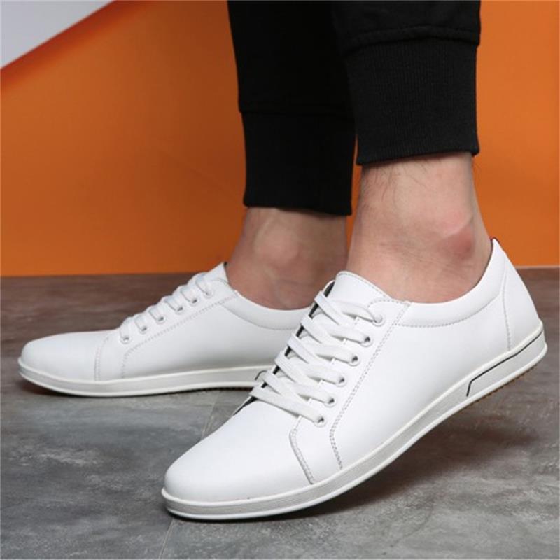 STAINLIZARD New Autumn Men Leather Shoes Fashion Comfortable Men Causal Shoes Flat Lace-up Solid Men Shoes Footwear Male ET601