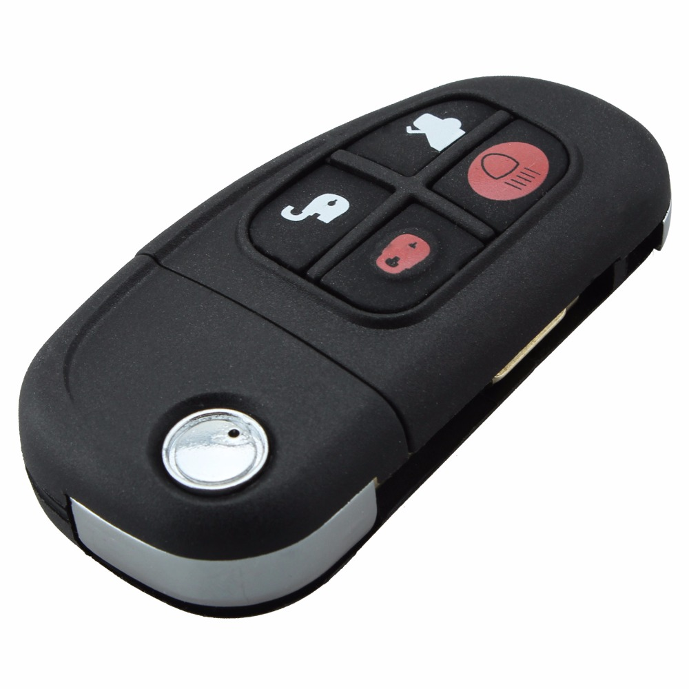 4Buttons Remote Flip Folding Key Case Shell For X type S type XJ type Car Key Cover Uncut Blade