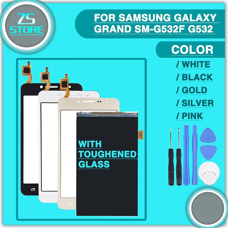 LCD Tactile Panneau Pour Samsung Galaxy Grand-Premier SM-G532F G532 LCD Affichage Écran Tactile Digitizer Capteur + verre Trempé + outil