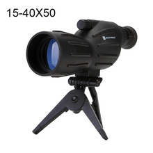 цены Hot selling 15-40x50 Zoom HD Monocular bird watching Telescope binoculars With Portable Tripod Spotting Scope Blue Coating