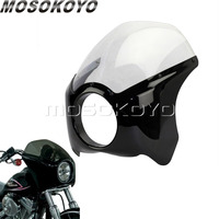 Motorcycle Cafe Racer 5.75 Gloss Black Headlight Fairing ABS Plastic 5 3/4 Front Mask Windshield for Harley Softail Bobber