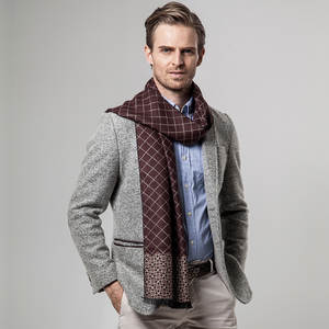 Cashmere Scarf Plaid Winter Men's New-Brand Peacesky YH101