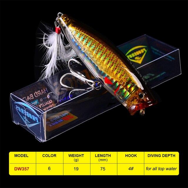 """1 PC leurres de pêche en plastique dur avec 4 # hameçon 8.5 cm-3.35 """"/19.5g-0.69 oz 6 appâts de pêche en couleur"""